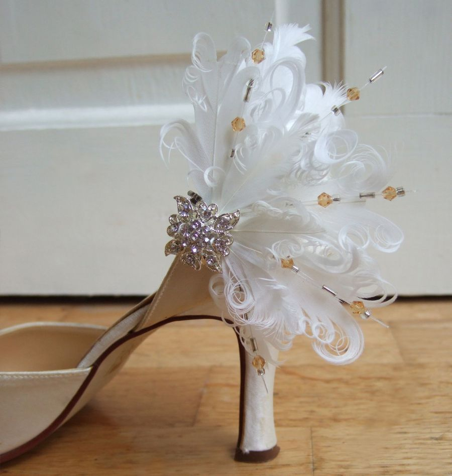 "Bridal White Curled Nagoire Feathers ""Faneva"" Swarovski Crystals Shoe Clips. Fairytale Wedding Ideas"